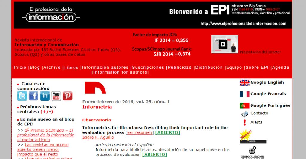 epi: editorial y revista de artículos científicos