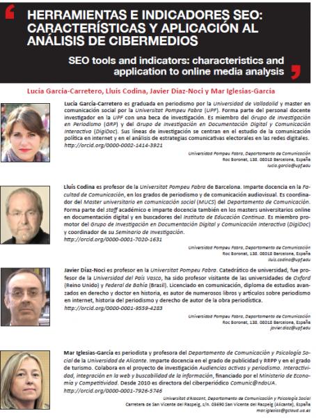 Primera página artículo EPI sobre SEO y análisis de cibermedios
