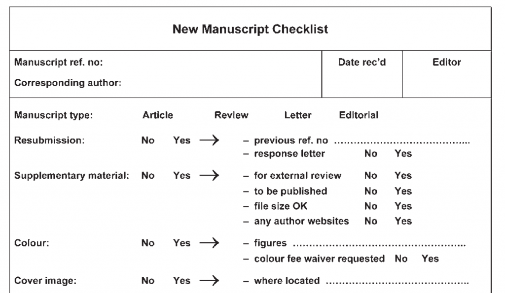 modelos de checklist para evaluar artículos