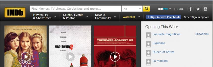 Página principal de IMDB