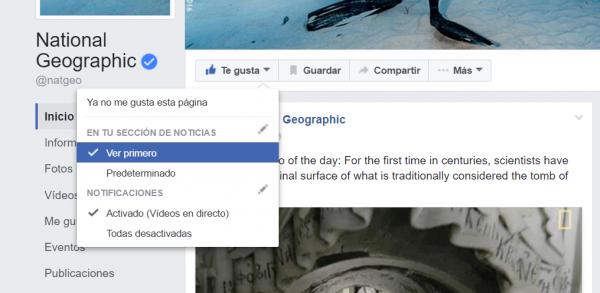 Facebook ver primero