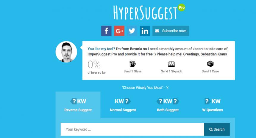 Herramientas de análisis SEO: Hypersuggest