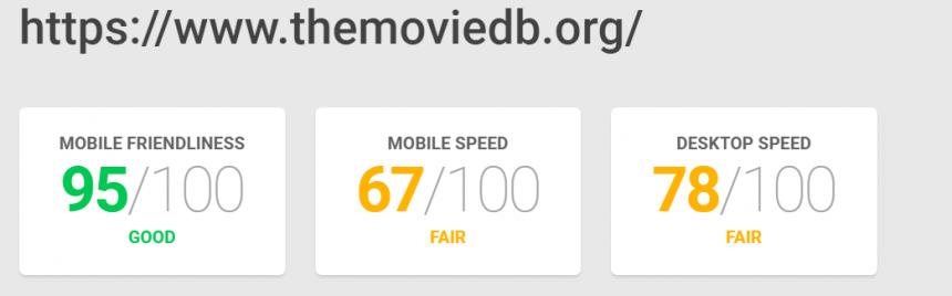 Adaptación a la web móvil y velocidad de carga de TMDb
