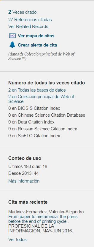 Parte de un registro en Web of Science, una de las principales bases de datos académicas