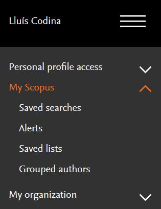 My Socpus: opciones de las Utilidades de Scopus