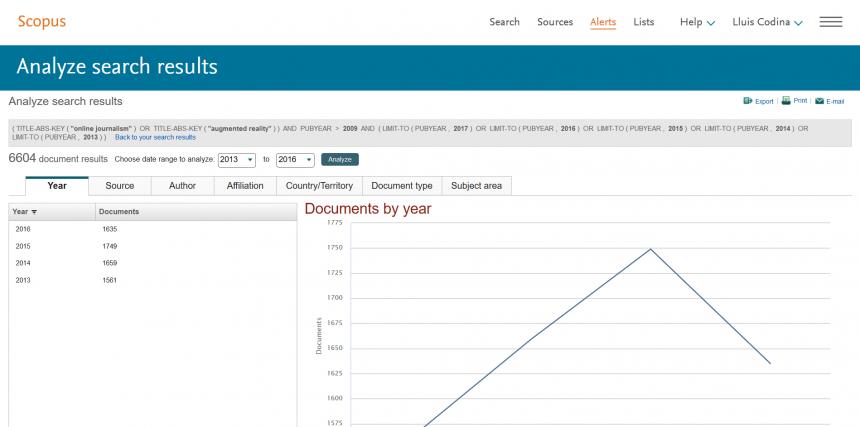 Análisis de referencias de una página de resultados
