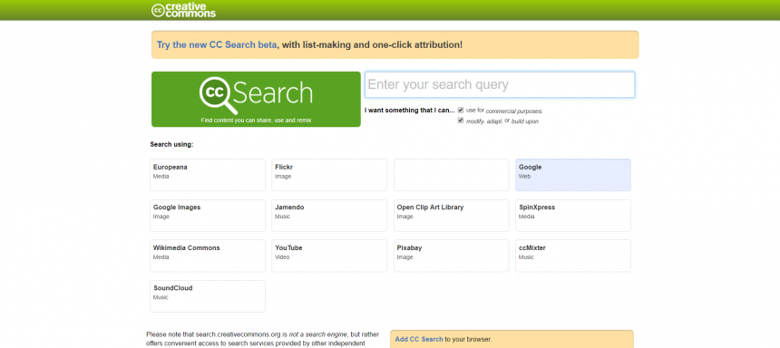 Buscador de la organización que da soporte a las licencias Creative Commons