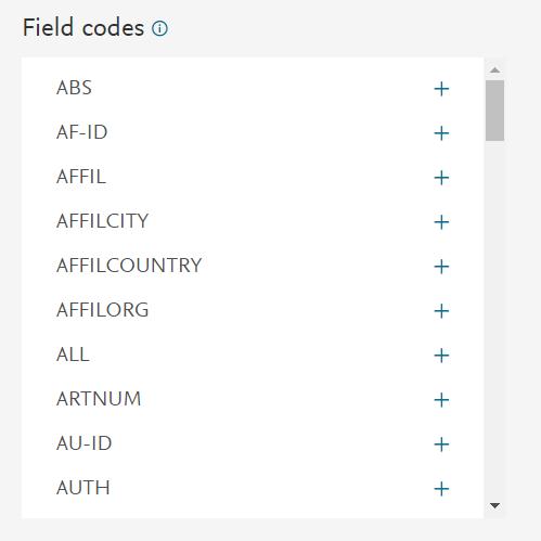 Etiquetas de campos en Scopus.