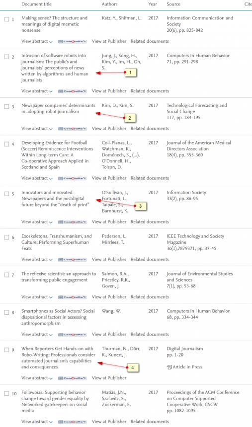 Páginas de resultados de Scopus