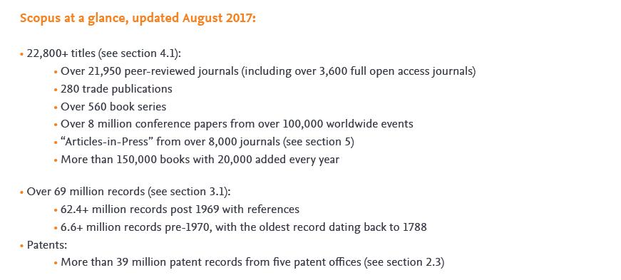 Principales datos cuantitativos de la cobertura de Scopus por tipología de fuente. Fuente: Scopus Content Coverage (clic para descargar el documento completo)