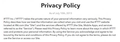 Página sobre la política de privacidad de IFTTT