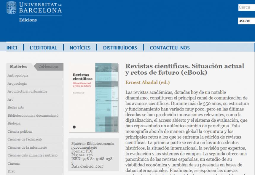 Sitio web de la obra sobre revistas científicas