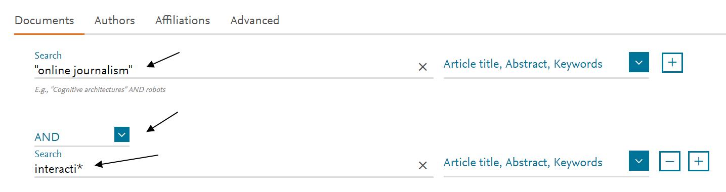 En esta captura del formulario de búsqueda de Scopus hemos incluido una búsqueda booleana para combinar dos conceptos .