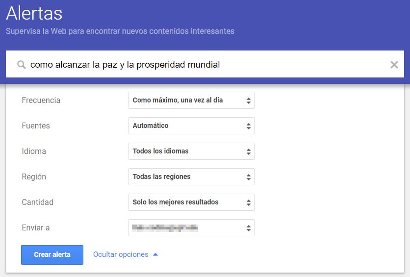 Las alertas son una parte esencial de la curación de contenidos. En la imagen Google Alerts.