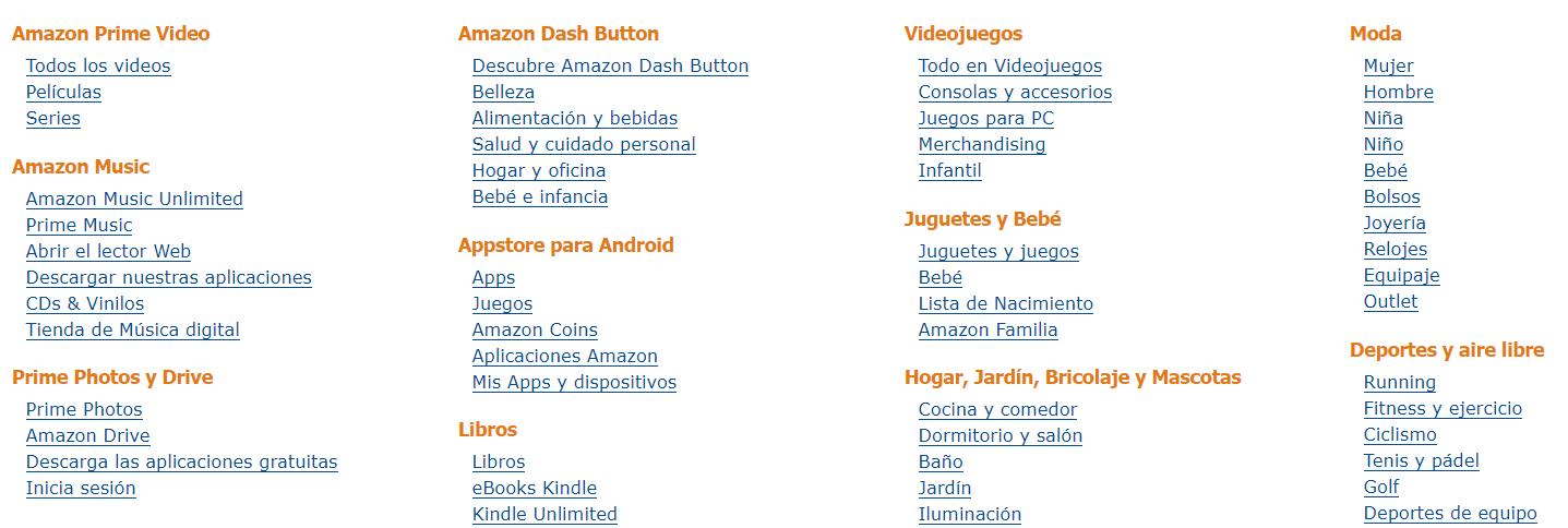 La taxonomía de Amazon