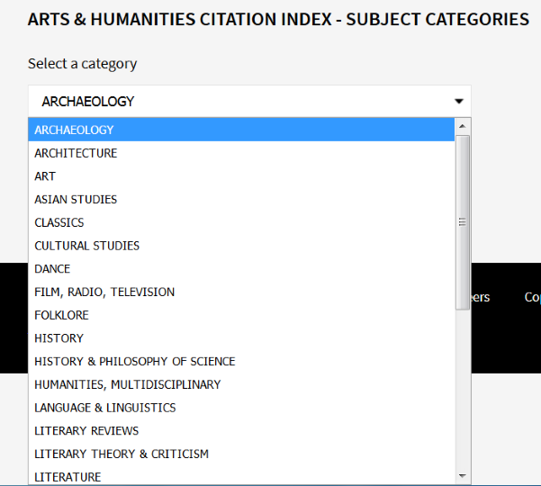 Arts & Humanities Citation Index de la base de datos WoS