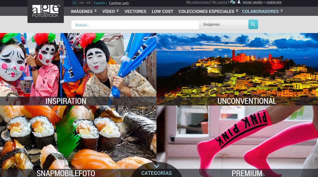Bancos de imágenes: Age fotostock. Parte de la página principal con acceso a sus colecciones de fotografía y vídeo