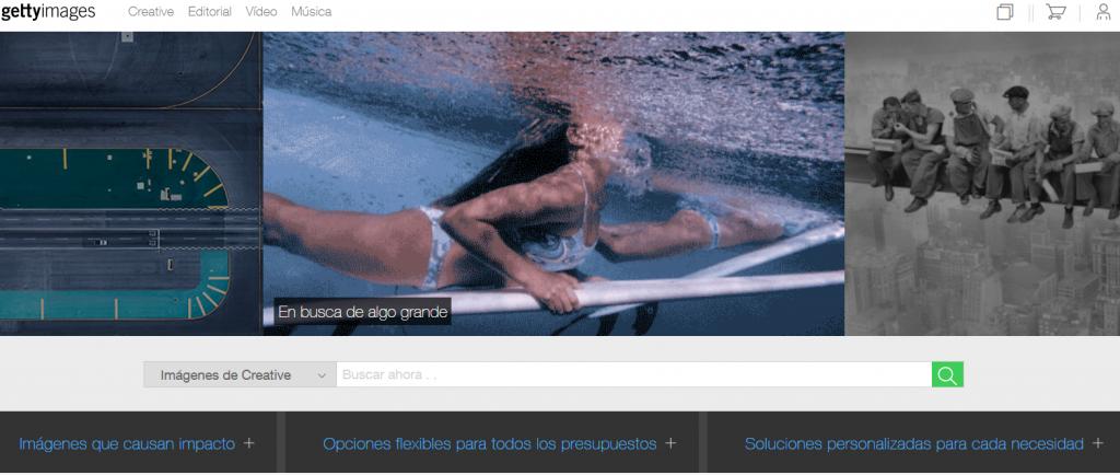 Bancos de imágenes: parte de la página principal de gettyimages