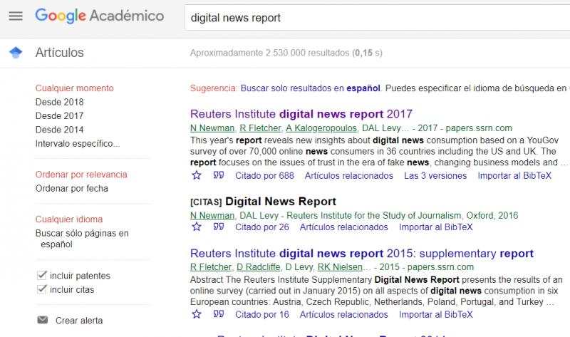 Buscador académico Google Scholar. Página de resultados