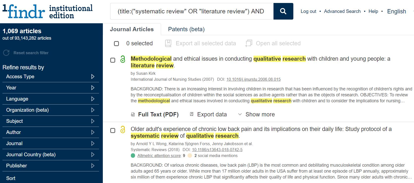 Página de resultados de la base de datos académica 1findr