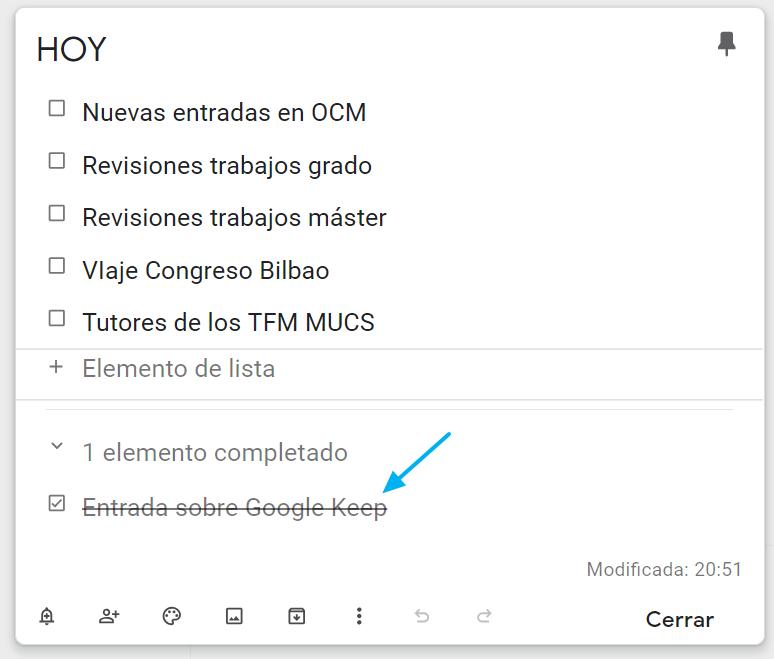 Lista de tareas en Google Keep