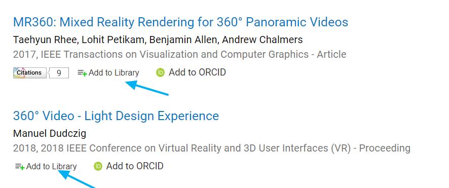 Opción Ad to Library en la página de resultados de Dimensions