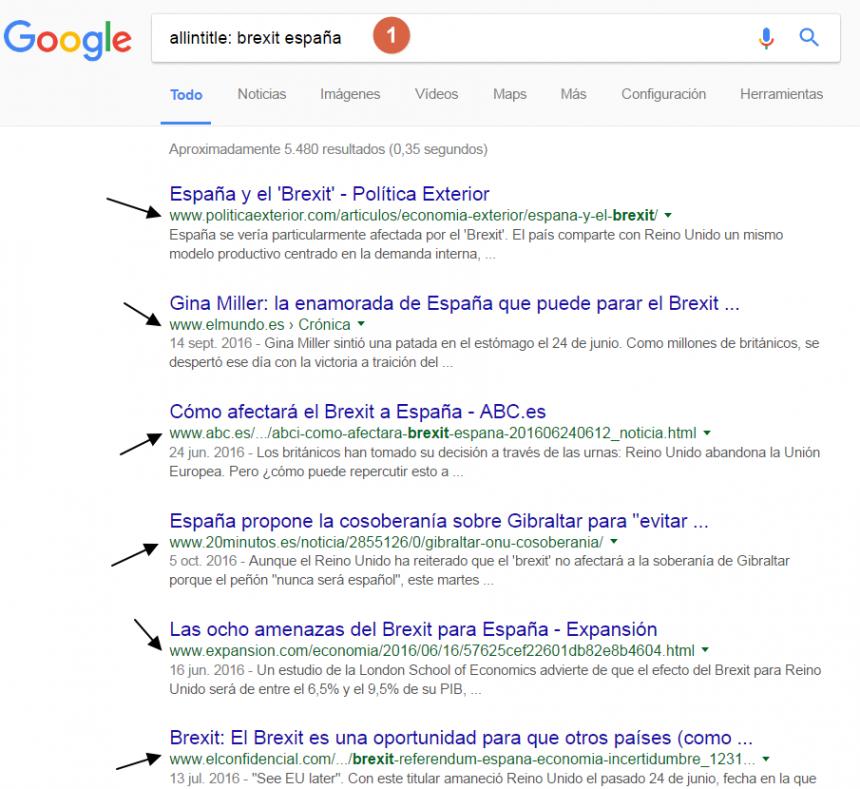 Página de resultados de una búsqueda allintitle