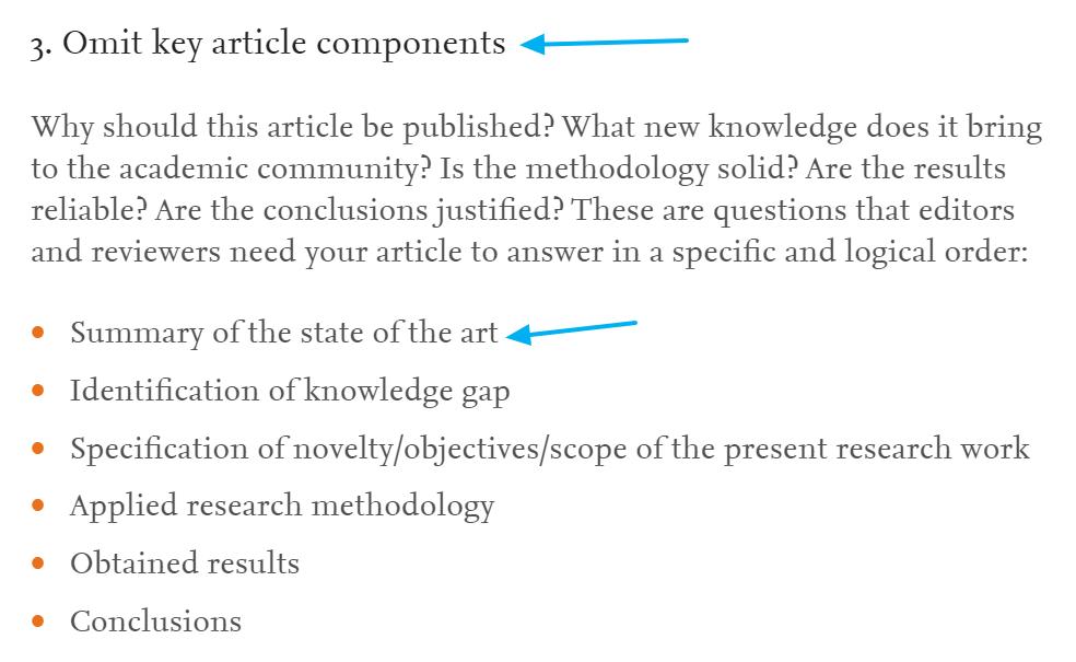 El estado de la cuestión como componente clave