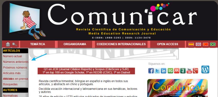 Sitio web de la revista Comunicar