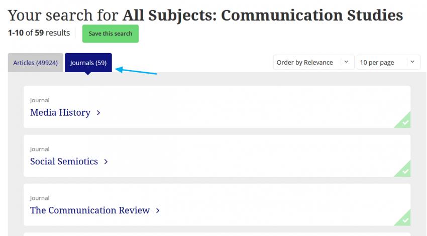 Lista de publicaciones sobre Comunicación de Taylor & Francis