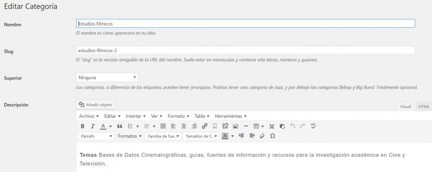 Las opciones de edición de categorías en WordPress