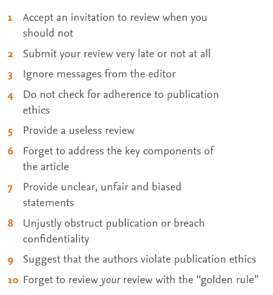 10 cosas que se deben evitar al escribir un informe de evaluación de un artículo científico