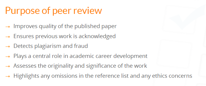 Objetivos del peer review según Elsevier
