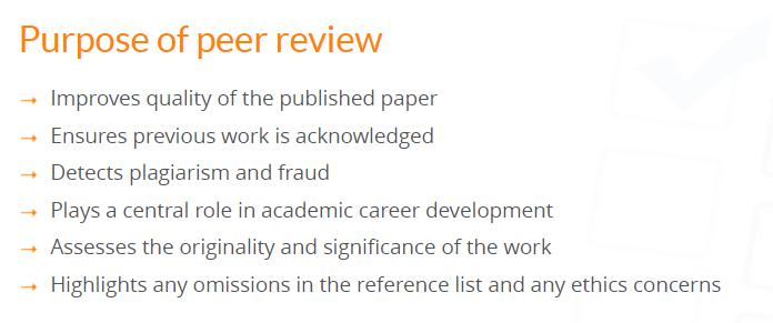 Objetivos del peer review según Elsevier