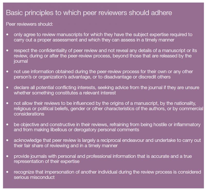 Principios éticos para el peer review. Fuente: Irene Hames para COPE.