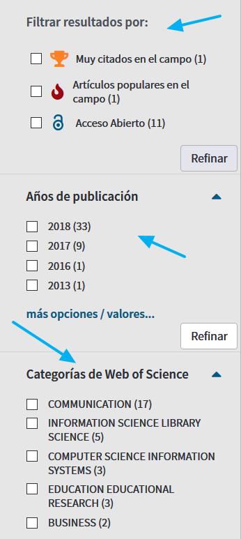 Filtros de la página de resultados en WoS