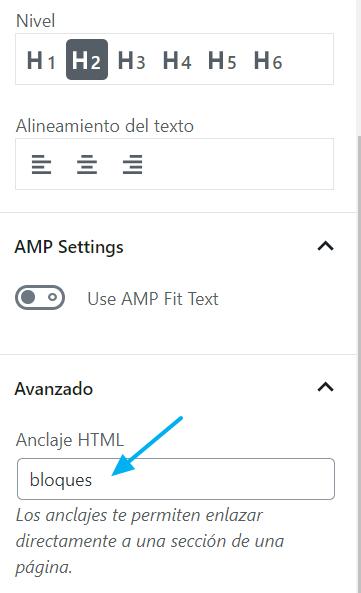Ajustes de encabezado: se puede convertir en un anclaje HTML