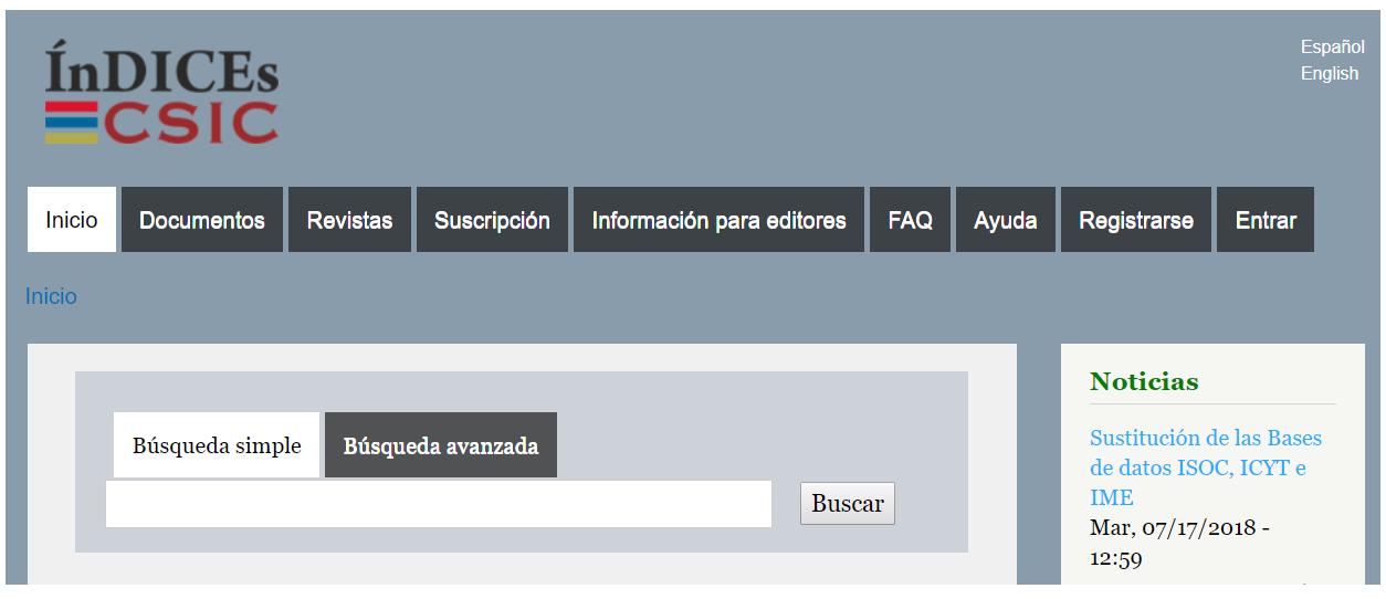Sitio web de InDICEs CSIC