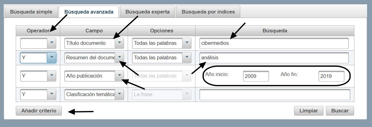 Formulario de búsqueda avanzada base de datos Índices CSIC
