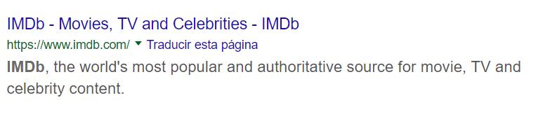 IMDB en la página de resultados de Google