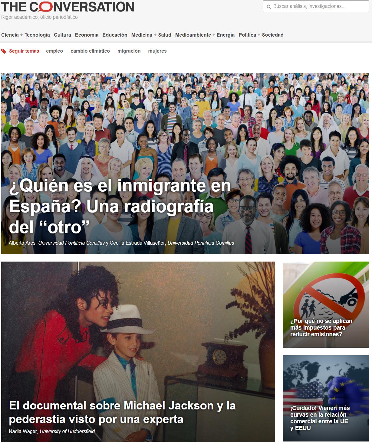 Página principal de The Conversation edición España