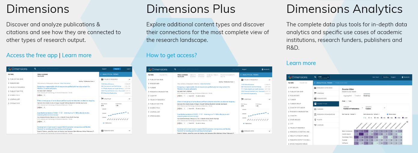 Las tres versiones de Dimensions: Free, Plus y Dimensions Analytics