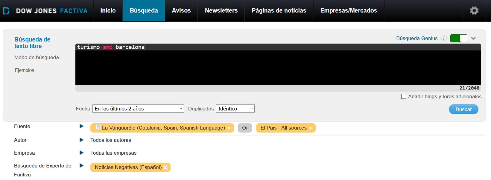 Formulario de búsqueda avanzada de la base de datos de prensa Factiva