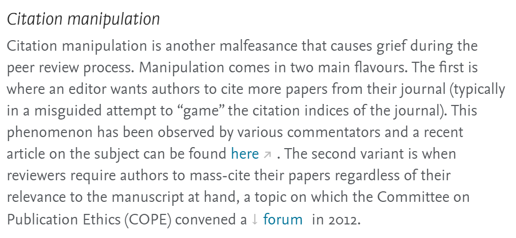 "Cita sobre ""citation manipulation"" en un proceso de peer review."