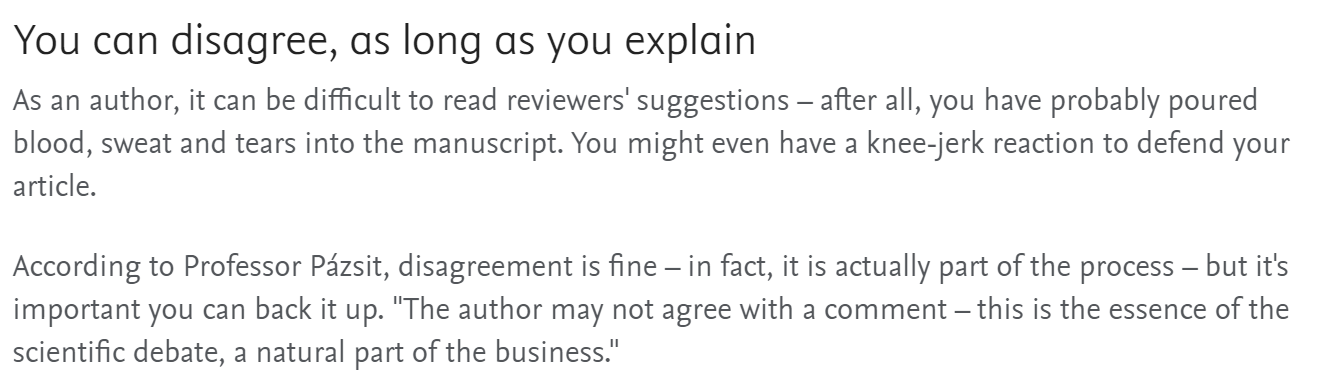 Cita sobre rechazar objeciones de evaluadores. Fuente: Elsevier