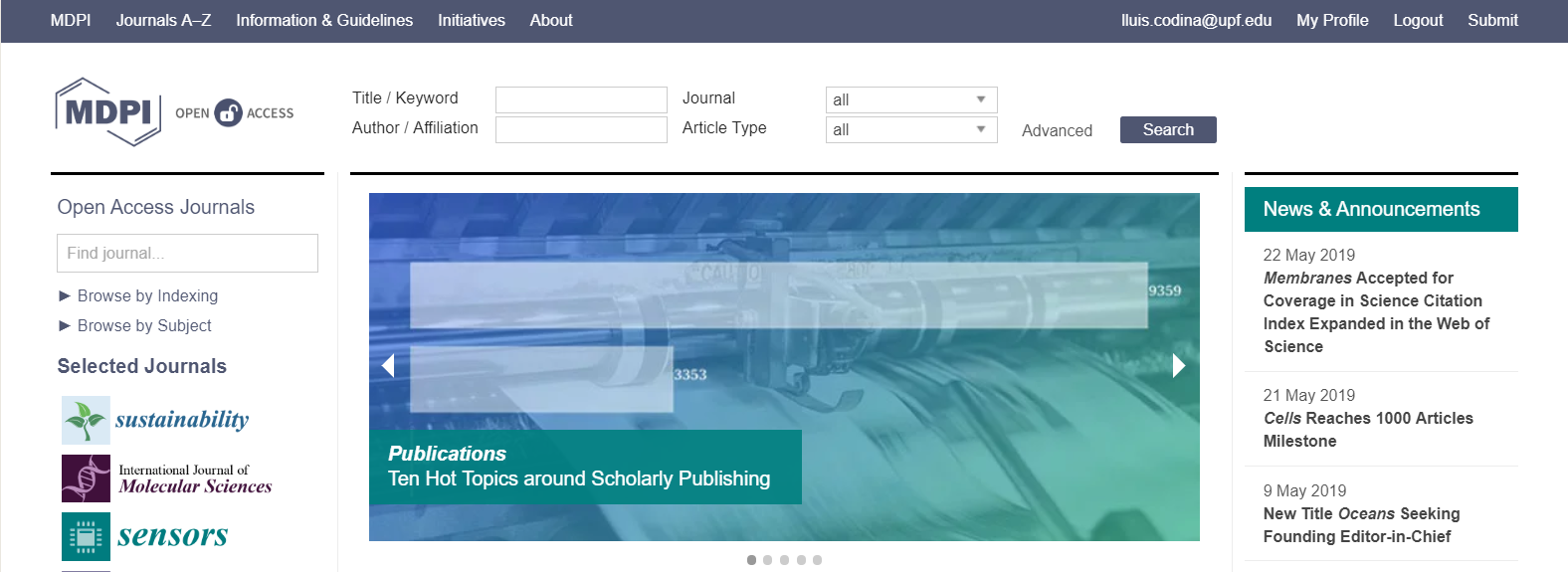 Cabecera de la plataforma académica digital MDPI