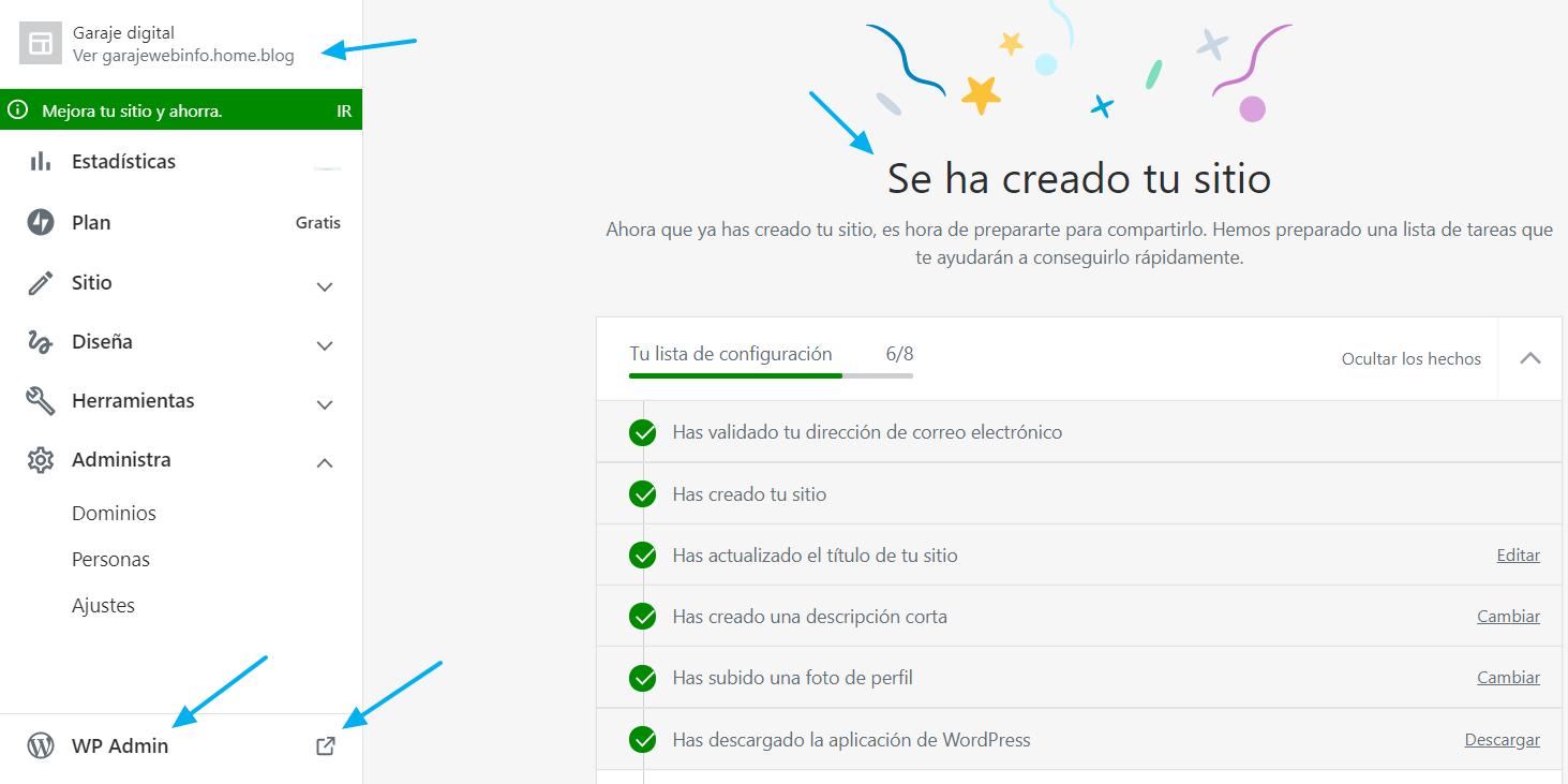Primera página tras la creación de un nuevo sitio con WordPress.com