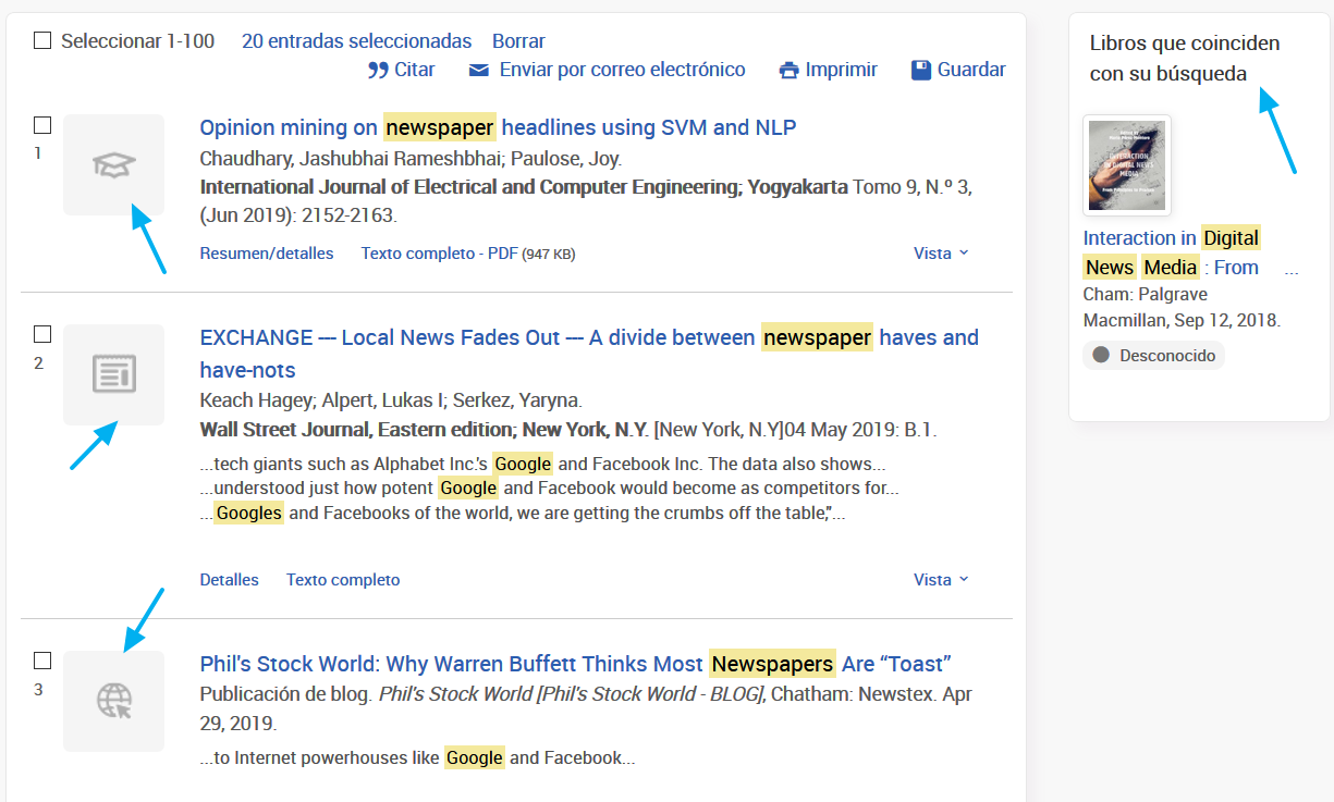 Captura de resultados de ProQuest Central con una diversidad de tipos documentales