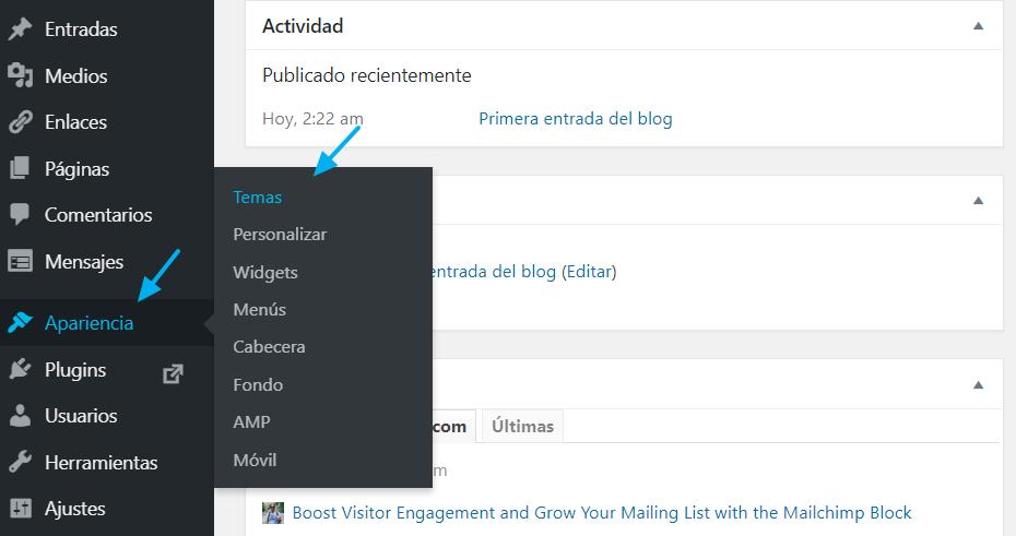 Acceso a los Temas en el Escritorio de WordPress
