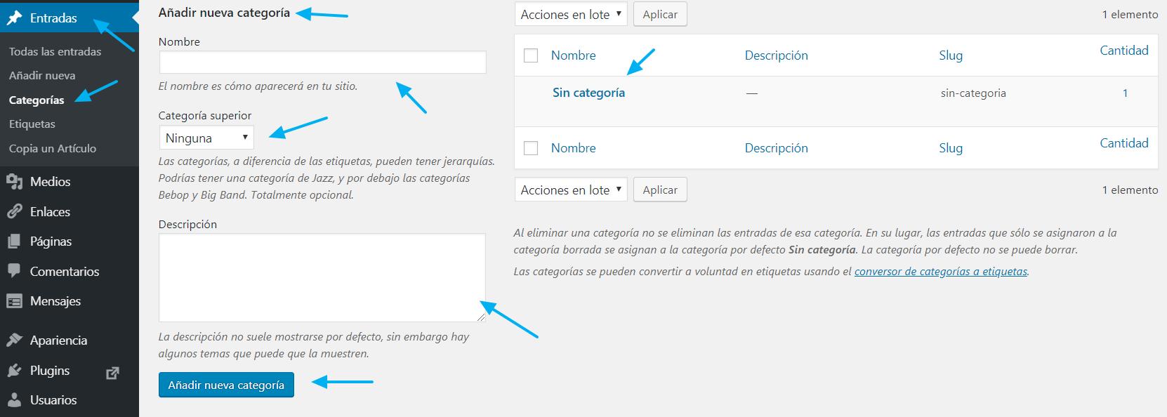 Páginas de gestión de las Categorías en WordPress